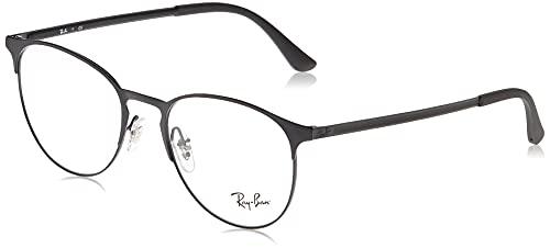 Ray-Ban RX6375 Metal Round Prescription Eyeglass Frames, Black On Matte Black/Demo Lens, 53 mm