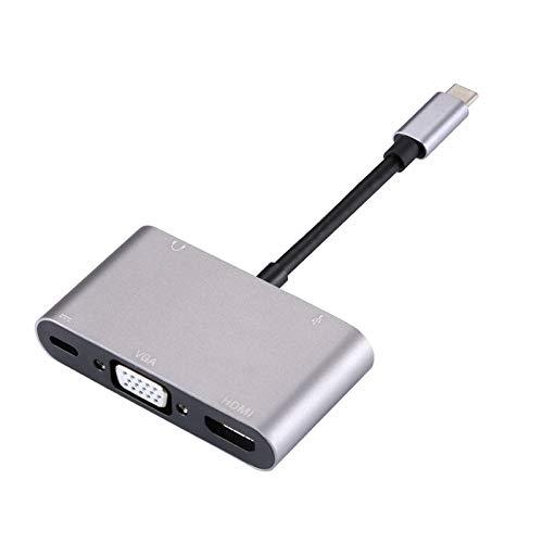 Práctico 5 en 1 Tipo-C a HDMI + VGA + USB 3.0 + PD Puerto Adaptador de Puerto HUB + Audio (Gris) (Color : Grey)