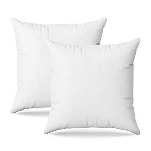 Kissen 40x40 2er Set Kissenfüllung Dekokissen Hypoallergene und Anti-Milben Innenkissen für Bett und Sofa mit 100% Polyesterpolsterung und weißem Polycotton-Kissenbezug