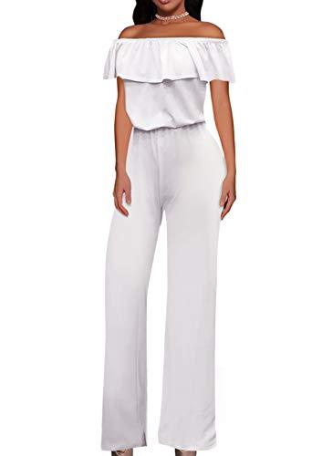 Hybrid & Company Women High Waist Wide Leg Pants Jumpsuit Romper KPVJ47696 White XL