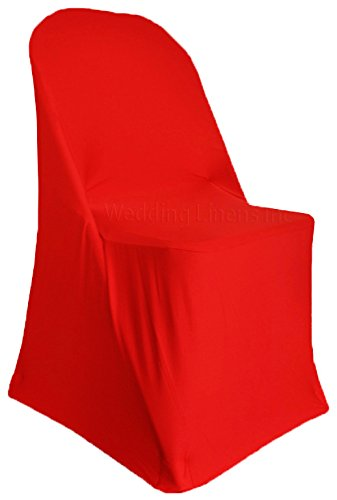 Wedding Linens Inc. (2 PCS) Spandex Folding Fitted Chair Covers, Lycra Stretch Elastic Wedding Party Decoration Chair - Red