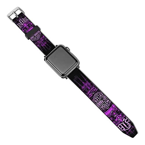 Correa para reloj Harley Davidson compatible con Apple Watch Correa de 38 mm 40 mm Series 5 4 3 2 1 y SE, mujeres y hombres con hebilla de acero inoxidable, correa de repuesto para iWatch