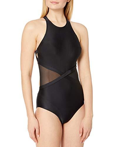 Amazon Brand - Coastal Blue Women's One Piece Swimsuit, Black, M