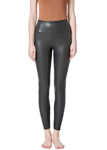 JOPHY & CO - Leggings für Damen, bi-elastisch, Kunstleder mit Außennaht in T-Form (Artikelnummer: 9837), Schwarz XXL