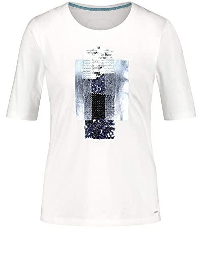 Taifun Damen T-Shirt mit Pailletten GOTS zertifizierter Bio-Baumwolle figurumspielend Offwhite Gemustert 38