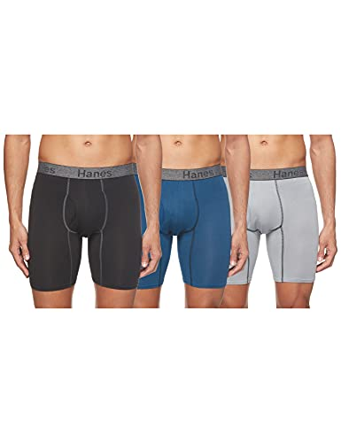Hanes Men's 3-Pack Comfort Flex Fit Ultra Soft Stretch Boxer Brief, Available in Regular, Long Leg Assorted - 3 Pack, Medium