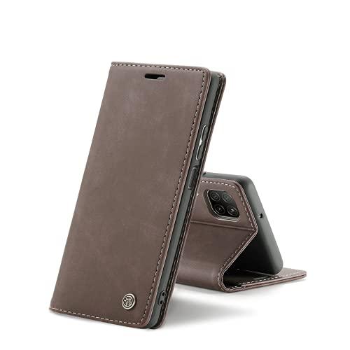 Chocoyi Compatible Funda Huawei P40 Lite/Nova 6SE Flip Leather Edition,magnético, función de Soporte y Ranuras para Tarjetas-marrón