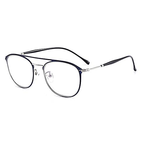 EYEphd 2021 Gafas de Lectura fotocromáticas al Aire Libre, Marco de Aviador Retro 1.56 Gafas de Lente de Resina asférica /UV400 Ampliación +1.0 a +3.0,Azul,+2.5