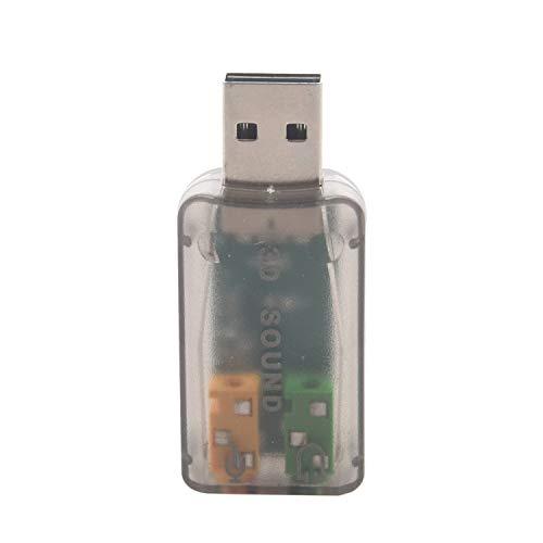 Andifany Instantly Adaptador Externo De Tarjeta De Sonido De Audio 3D 5.1 USB para PC Computadora PortáTil De Escritorio CREA Una TeléFono Y Un Conector Cualquier Puerto USB De PC