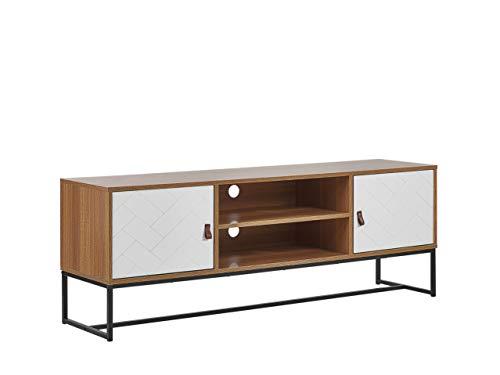 Mueble de TV con cable Management patas de metal madera clara con color blanco Nueva
