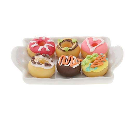 F Fityle 1:12 Dollhouse Miniature Food Bakery Tiny Donuts Ceramic Tray Accessories Toys