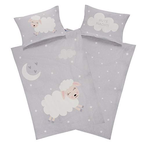 Aminata Kids Kinderbettwäsche Schafe 100 x 135 grau Mädchen Jungen Baumwolle - YKK Reißverschluss Schaf-Motiv Wende Kinder-Bettwäsche-Set mit Mond, Sterne & Spruch - weiß, grau - süße Träume