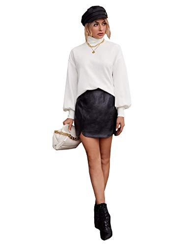 Floerns Women's High Neck Lantern Long Sleeve Pullover Tops Sweatshirt White S