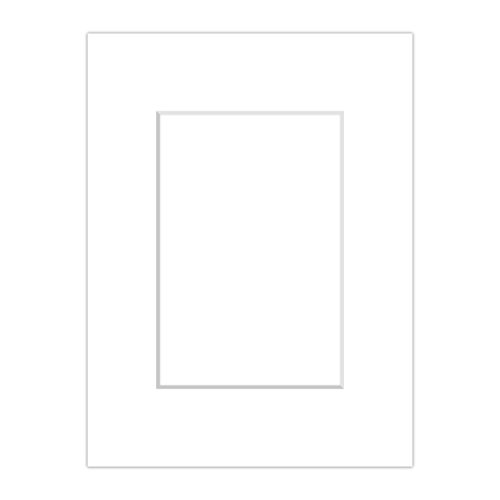 Premium Passepartout Weiß (Schneeweiß) - alle Standard Größen - 1,4mm stark - Museumsqualität (Außen: 50x70 / Innen: 30x45)