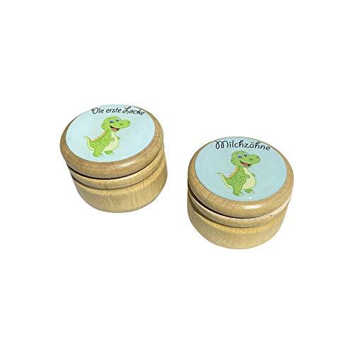 Milchzahndose Milchzähne und Erste Locke Dosen Set, Bilderdosen aus Holz in diversen Motiven für Mädchen und Jungen mit Drehverschluss 44 mm (Dino)