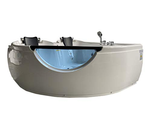 """Product Image of the ARIEL Platinum BT-150150 Whirlpool Bathtub, 60"""" x 26.8"""" x 60"""" Inches Air Jetted Two Person Hot Tub with Hydro Massage and Multiple Smart Features"""