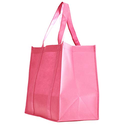 Gift Expressions Grocery Tote Bag | 10 Pack | Pink | Heavy Duty Large Gift Bags & Super Strong, Reusable Eco Friendly Shopping Bags, Stand Up Bottom, Recyclable Non Woven High Quality Tote Bags
