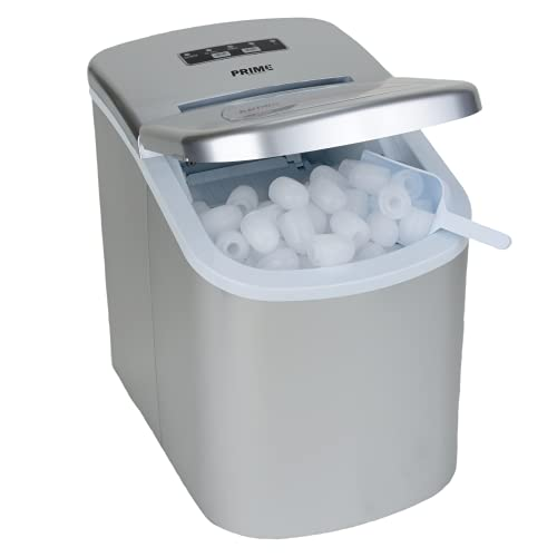 Prime Home Direct Ice Makers Countertop - Ice Maker Machine for Counter top Makes Ice Cubes in 8 Minutes, 26 Lbs of Ice in 24 Hrs - Ice Machine includes Scoop and Basket - Portable Ice Maker - Silver