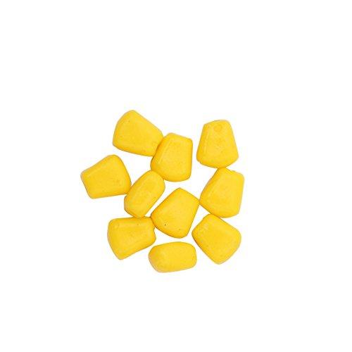 Delleu 50 señuelos flotantes de maíz artificiales para pesca de carpa, cebos de maíz, cebos de simulación biónica suave, amarillo