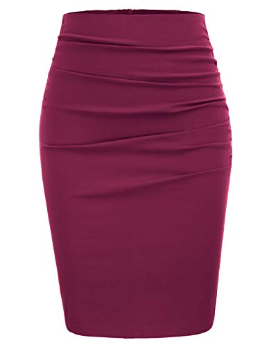 GRACE KARIN Women Ruched Work Business Party Pencil Skirt Size 2XL,Wine Red