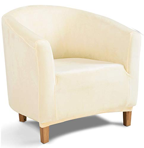 TIANSHU Samt Tub Stuhlhussen,Soft Velvet Plush Couchbezug stilvolle Luxus-Möbelbezüge Anti-Rutsch-High Stretch Tub Chair Cover(Tub Chair,Beige)