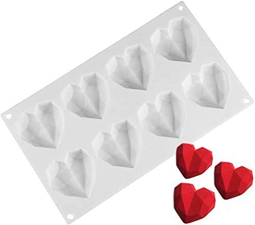 Silikonform mit 8 Mulden, 3D-Diamant-Herz, Backform, Eis, Fondant, Schokolade, Seife, Kuchen, Dessert, DIY-Werkzeuge