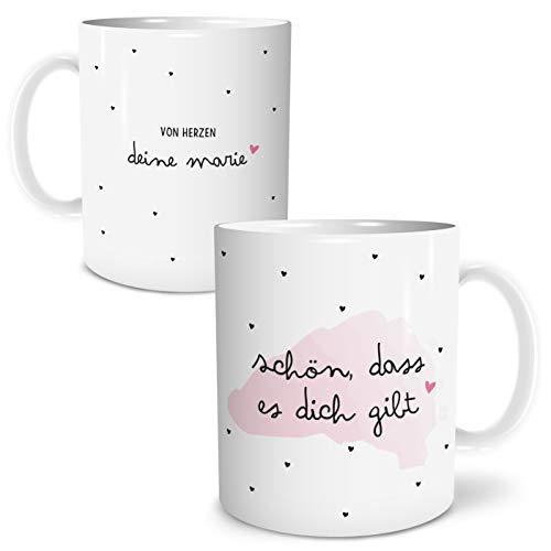 OWLBOOK Schön das es Dich gibt Große Kaffee-Tasse mit Spruch im Geschenkkarton Personalisiert mit Namen Geschenke Geschenkideen für die Beste Freundin zum GeburtstagHochzeitstag