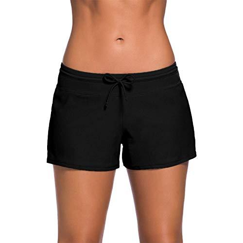 Kfnire Damen Badeshorts Bikinihose Wassersport Schwimmshorts Boardshorts Plusgröße S - 3XL (M, Schwarz)