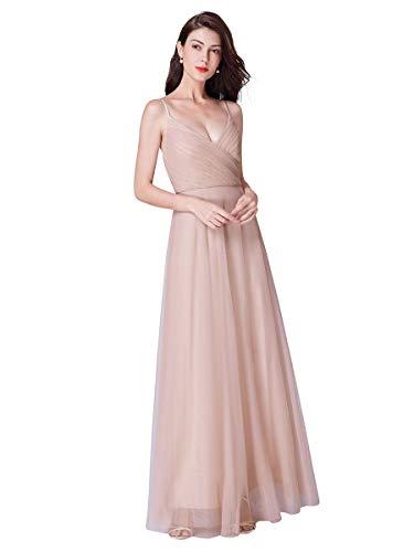 Ever-Pretty Vestido de Dama de Honor para Mujer Dodas Cuello en V Largo Correas Ajustables 07369