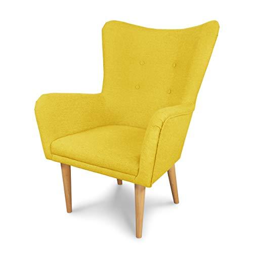Sessel Flor gepolstert - Lounge Sessel mit Armlehnen, Scandinavian Design, Modern Stuhl aus Stoff mit Holz Füßen, Ohrensessel Polsterstuhl für Esszimmer & Wohnzimmer (Gelb (Vidar 66))