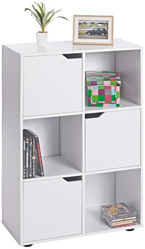 ts-ideen Estantería de pie para libros, de madera, moderna, con puertas, color blanco