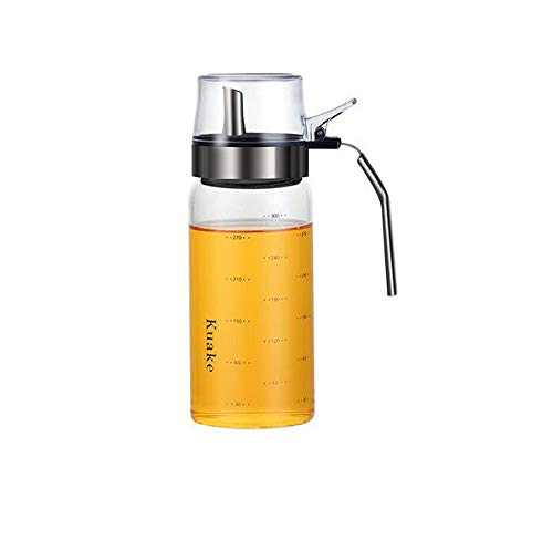 xiaoshenlu Ölspender, Olivenölspender Glasflasche, Essigspenderbehälter, 300ml Auslaufsicherer Speiseöl-Vorratsbehälter mit Verschluss