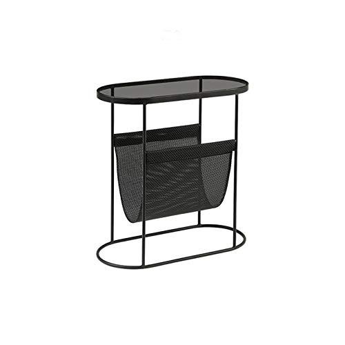 Mesa Auxiliar De Vidrio, Revista Black Rack con Bolsa De Almacenamiento Sofá Multifuncional Dormitorio Tabla De Mesa Mesa De Esquina(Size:53.5 * 25 * 55CM,Color:Negro)