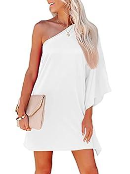 Best one shoulder white dress Reviews