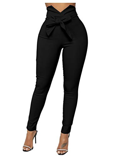 XXTAXN Women's Casual High Waist Stretch Trousers Solid Pencil Pants with Tie Black