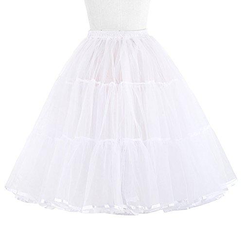 50s Retro Underskirt Unterrock Petticoat Rock Rockabilly Tutu Skirt Weiss S BP177-2 - 3