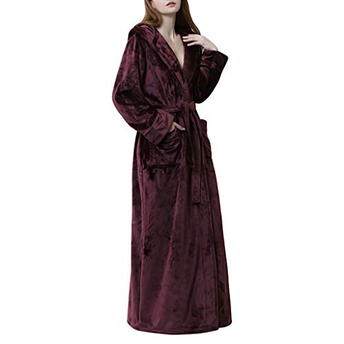 Albornoz largo para mujer, elegante, cálido, de forro polar, color coral, para viajes, dormitorio, hogar, vestidos (color rojo, tamaño: grande)