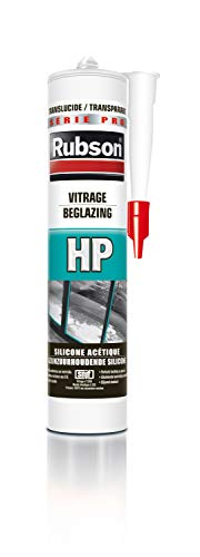 Rubson HP Translucide, Dichtstoff für Glasscheiben, Aktive Silikondichtung, Glaskitt, Verglasung, Dichtungen für Türen und Fenster, Kartusche 300 ml