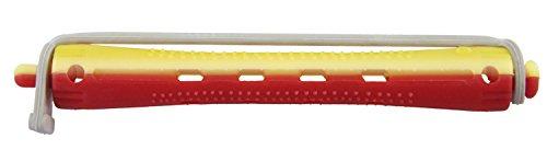 Comair 3012015 kaltwell Lot de 12 bigoudis bicolore 9 mm de long rond caoutchouc Longueur 91 mm, jaune/rouge