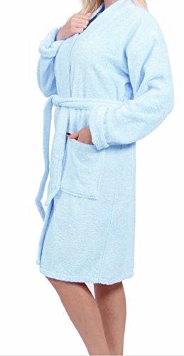 e-XCEPTIONAL SALES Kimono Style Women's 100% Cotton Terry Cloth Spa Bathrobe - Soft Short Length Robe (Baby Blue, Small)