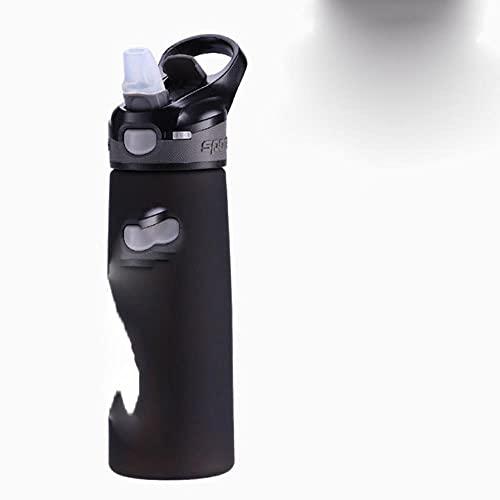 Proteína de suero en polvo Botella de coctelera deportiva Botella de agua de plástico con pajita Botella de bebida portátil para viajes al aire libre Fitness Cycling-600ml, botella de agua negra