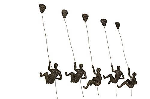 5x grote bronzen klimabseilen hangende ornamenten figuren Set van 5 klimmende mannen wandhangende beeldjes abseilen…