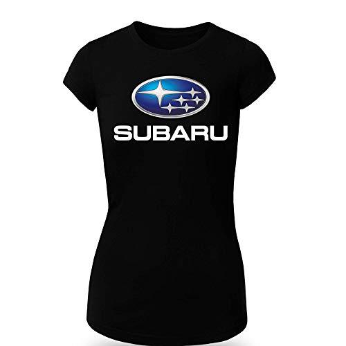 Preisvergleich Produktbild Subaru T-Shirt Clipart Women CAR Logo Auto Tee TOP Black White Short Sleeves (XS,  Black)