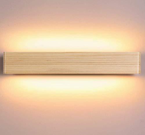Martll Wandleuchte Holz, LED Wandlampe Innen Wandlicht aus Holz für Schlafzimmer Korridor Treppe Flur Wohnzimmer Warmweiß Wandbeleuchtung Nachtlicht (52cm)