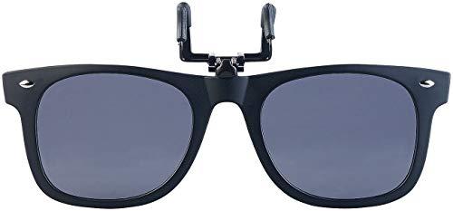 PEARL Sonnenclip: Sonnenbrillen-Clip in klassischem Retro-Look, polarisiert, UV400 (Brillen Clip System)