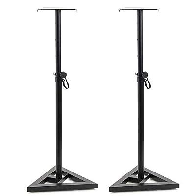 Display4top Adjustable 6 height (80 cm, 90 cm,100 cm',110 cm', 120 cm,130 cm) Floor Speaker Stand for Studio Monitor Speaker Stands Heavy Duty Metal Triangle Pair Steel Stands,2pcs by D4P