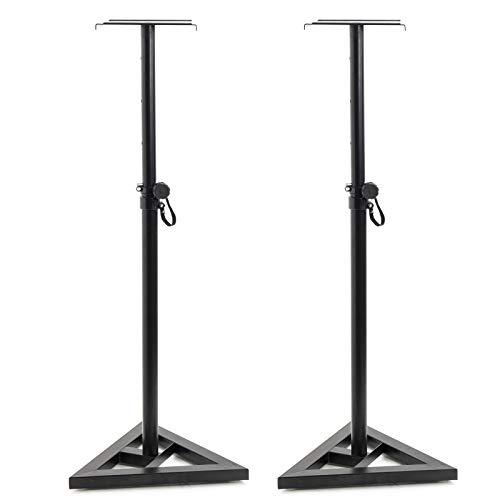 Display4top lautsprecher Stativ für Studio Monitor Ständer (Höhenverstellbar 80cm bis 130cm,Dreiecksbasis,Gummifüße, Dornenfüße/Spikes, Stahl,Trägerplatte mit Gummistreifen) Schwarz pulverbeschichtet