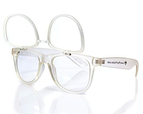 Premium Double Diffraction Glasses, Ideal for Raves, Festivals (Transparent Matte, Double Diffraction - Clear)