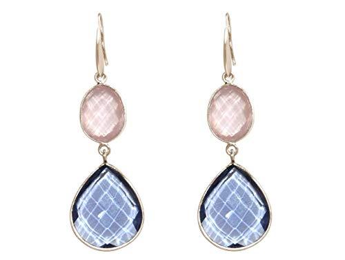 Gemshine Ohrringe mit Rosenquarz und blaue Topas Quarz Edelsteinen. Ohrhänger aus 925 Silber, vergoldet oder rose. Nachhaltig, qualitätsvoll - Made in Spain, Metall Farbe:Silber