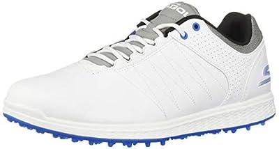 Skechers Men's Pivot Spikeless Golf Shoe, White/Gray/Blue, 11.5 M US